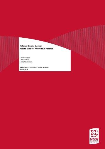 Rotorua District Council Hazard Studies: Active fault hazards