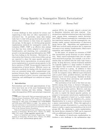 Group Sparsity in Nonnegative Matrix Factorization