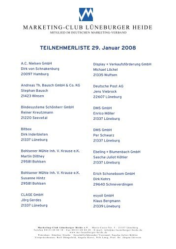 TEILNEHMERLISTE 29. Januar 2008 - Marketing-Club Lüneburger ...