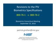 Revisions to the PIV Biometrics Specifications - NIST Visual Image ...