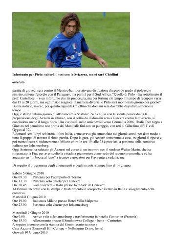 Infortunio per Pirlo: salterà il test con la Svizzera, ma ci sarà Chiellini ...