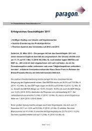 Erfolgreiches Geschäftsjahr 2011 - paragon AG
