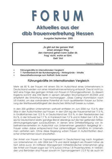Forum dbb frauen hessen September 2005 - [DBB] - Frauenvertretung ...
