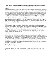 Kontrakt med elev om udvikling af personlige kompetencer