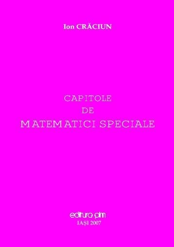 Capitole de matematici speciale - PIM Copy