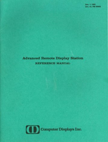 Advanced Remote Display Station REFERENCE MANUAL - Bitsavers