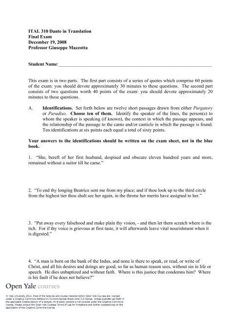 Final Exam [PDF] - Open Yale Courses