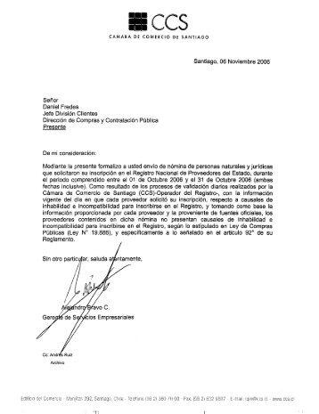 Resolución Proveedores Inscritos Octubre 2006 - Chileproveedores