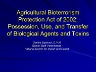 Agricultural Bioterrorism Protection Act of 2002; Possession, Use ...