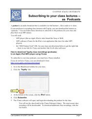 Subscribing to your class lectures -- as Podcasts - Coppin State ...