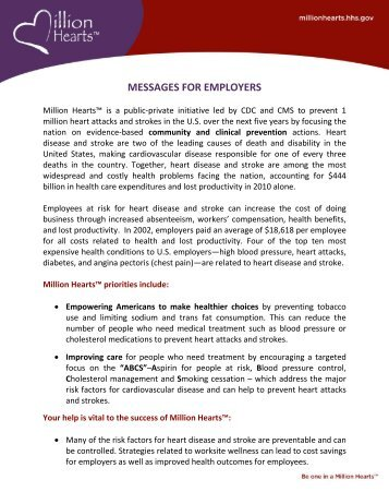 Messages for Employers [PDF-210K] - Million Hearts