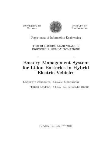 """BMS for Li-ion Batteries in HEVs"""