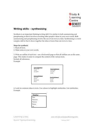 Writing skills – synthesising - RMIT University