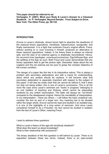 lacan's goal of analysis le sinthome Doing psychoanalysis in  in 'lacan's analytic goal: le sinthome  and entails an understanding of what constitutes a subject and what the aims of analysis.