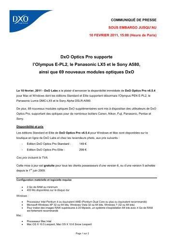 DxO Optics Pro v6.5.4 supporte 3 nouveaux - DxO Labs