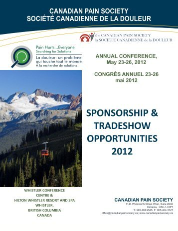 Exhibit and Sponsor Info - The Canadian Pain Society
