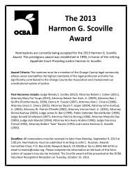 The 2013 Harmon G. Scoville Award - Orange County Bar Association