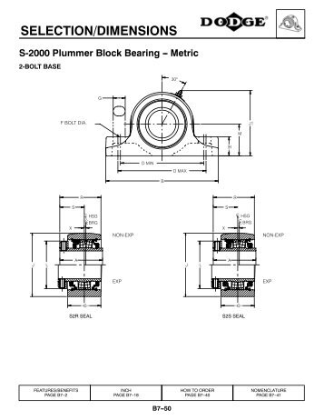 SELECTION/DIMENSIONS S-2000 Plummer Block ... - PTplace.com
