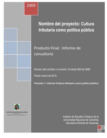 Cultura tributaria como política pública - Instituto de Estudios Urbanos