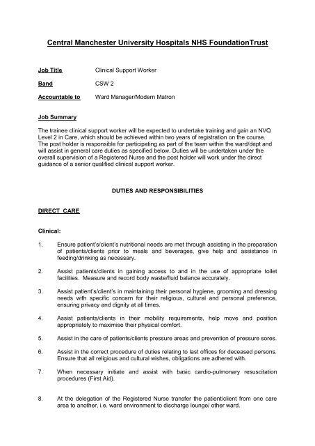 Health Care Assistant Job Description Manchester Workforce And