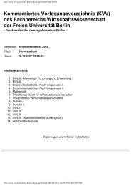 KVV - Fachbereich Wirtschaftswissenschaft - Freie Universität Berlin
