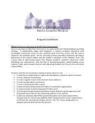 Guidelines for Service Learning Courses - High Point University