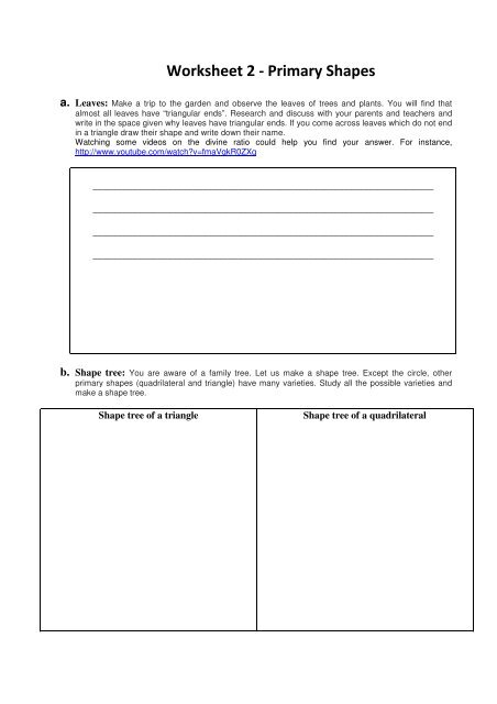 Worksheet 2 - Primary Shapes - Teachers of India