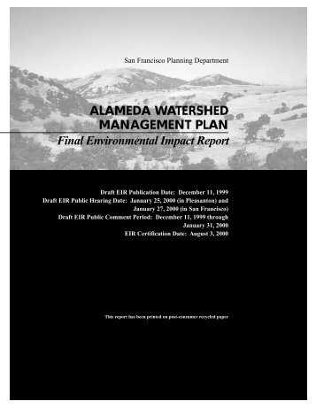 Alameda Watershed Management Plan - Alameda Creek Alliance