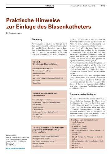 Praktische Hinweise zur Einlage des Blasenkatheters - Swiss ...