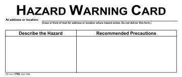 PS Form 1766, Hazard Warning Card - branch 38