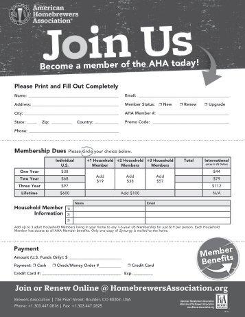 AHA membership form - American Homebrewers Association