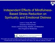 Independent Effects of Mindfulness-Based Stress Reduction