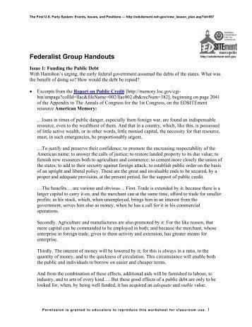 Federalists and Democratic-Republicans: Worksheet 1 - EDSITEment