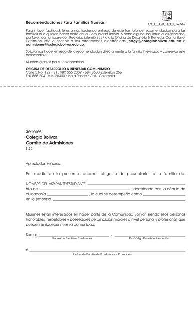 Formato De Carta De Recomendación Colegio Bolivar