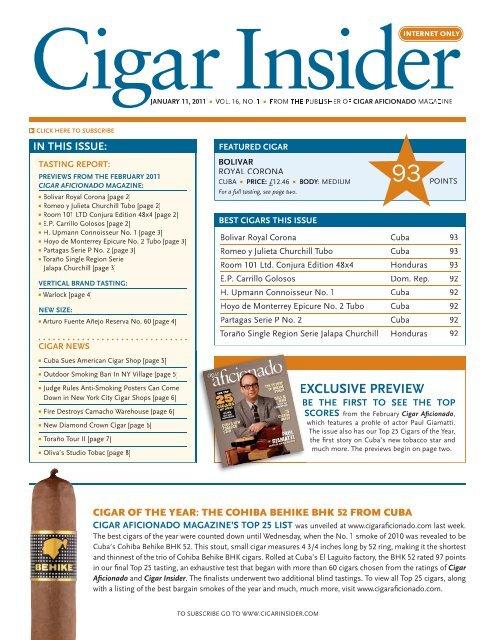 15c133e5cb29c EXCLUSIVE PREVIEW - Cigar Aficionado
