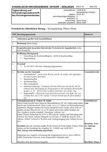 KGR Protokoll vom 12. September 2012 - Evangelische ...