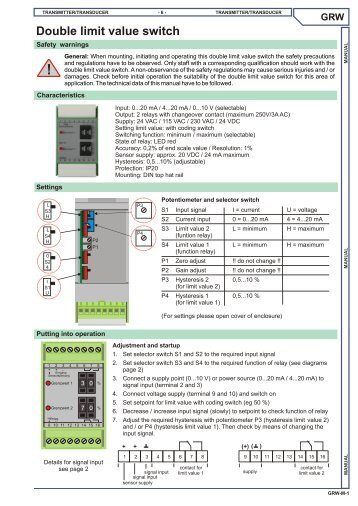 Double limit value switch