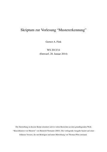 """Skriptum zur Vorlesung """"Mustererkennung"""" - Pattern Recognition"""