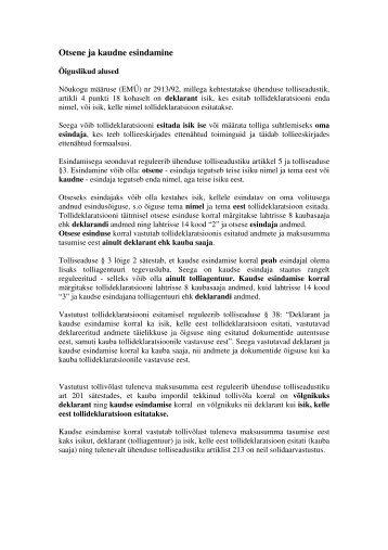 Otsene ja kaudne esindamine - Maksu- ja Tolliamet