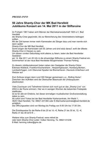 50 Jahre Shanty-Chor der MK Bad Hersfeld Jubiläums Konzert am ...