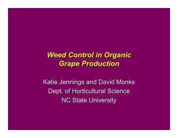 Weed Control in Organic Grape Production