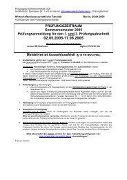 Prüfungsplan Sommersemester 2005 Grundstudium