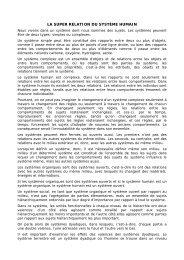 LA SUPER RELATION DU SYSTÈME HUMAIN - Wgov.org