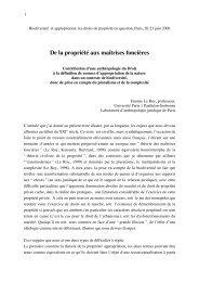 De la propriété aux maîtrises foncières - Droits de l'Homme et ...
