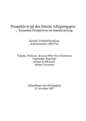 Perspektiver på den Interne Afregningspris - Aarhus Universitet