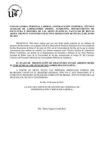 convocatoria - Universidad de Sevilla