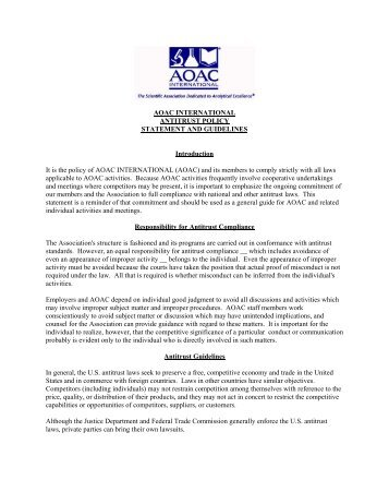 Policy on Antitrust - AOAC International