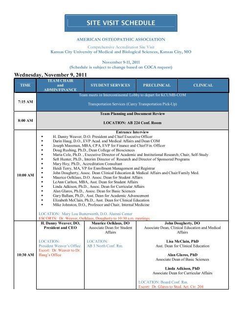 Site Visit Schedule wNames&Escorts - Kansas City University of .