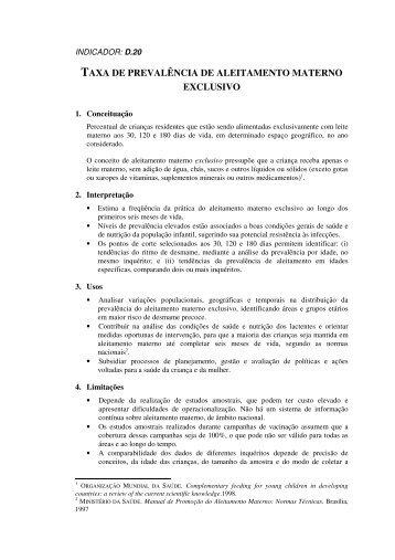 taxa de prevalência de aleitamento materno exclusivo - RIPSA