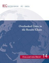 Overlooked Links in the Results Chain (Evaluation Brief) - World Bank